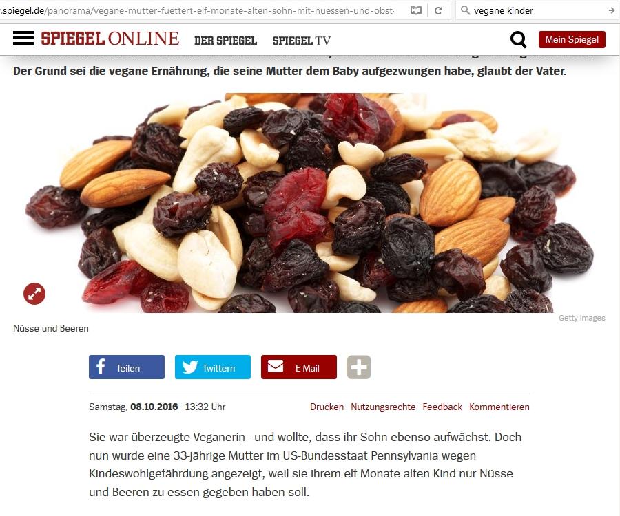 Screenshot: Spiegel online; Lügen und Hetze, Nüsse und Beeren